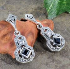 Art Deco Style Sterling Silver Sapphire & Cubic Zirconia Drop Earrings
