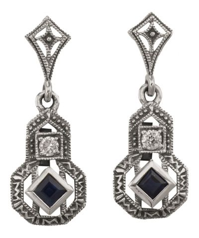 Art Deco Style Sapphire & Cubic Zirconia Earrings in Sterling Silver