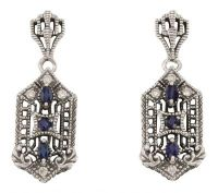 Art Deco Style Sapphire and Cubic Zirconia Earrings in Sterling Silver