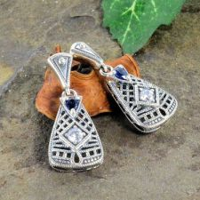 Art Deco Style Sterling Silver Filigree Cubic Zirconia & Sapphire Drop Earrings