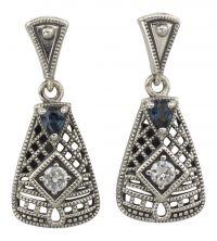 Art Deco Style Sterling Silver Filigree Cubic Zirconia & Sapphire Earrings