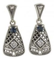 Art Deco Style Sterling Silver Filigree Cubic Zirconia & Sapphire Earrings