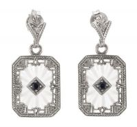 Art Deco Style Sterling Silver Starburst Crystal, Sapphire & Diamond Drop Earrings