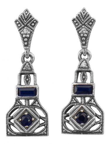 Art Deco Style Sterling Silver Sapphire & Cubic Zirconia Dangle Earrings