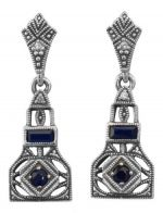 Art Deco Style Sterling Silver Sapphire & Cubic Zirconia Dangle Earrings