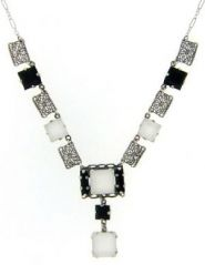 Art Deco Style Sterling Silver Filigree Crystal & Onyx Necklace