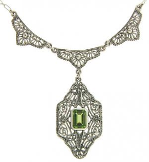 Vintage Style Sterling Silver Filigree Gemstone Necklace