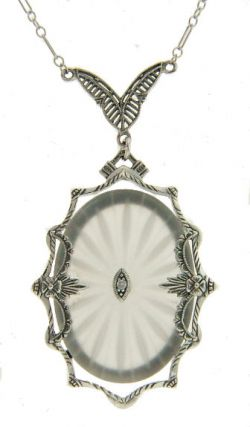 Art Deco Style Sterling Silver Filigree Frosted Sunray Crystal & Diamond Necklace