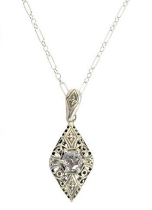 Vintage Style Sterling Silver Filigree .50ct Cubic Zirconia Pendant