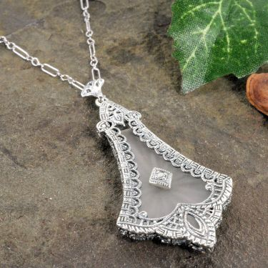Art Deco Style Filigree Sunray Crystal Camphor Glass Pendant in Sterling Silver