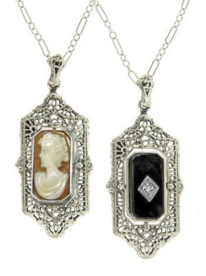 Art Deco Style Sterling Silver Filigree Cameo & Onyx Flip Pendant