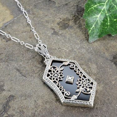 Art Deco Style Sterling Silver Filigree Black Onyx and Diamond Pendant