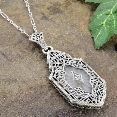Art Deco Style Sterling Silver Filigree Sunray Crystal and Diamond Pendant