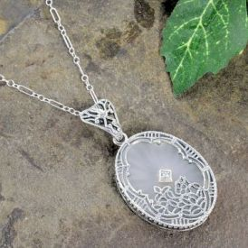 Art Deco Style Sterling Silver Filigree Frosted Sunray Crystal & Diamond Pendant
