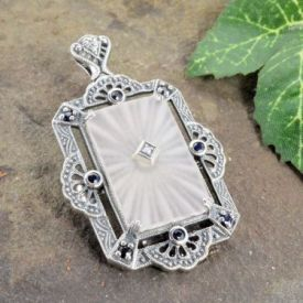 Art Deco Style Sterling Silver Filigree Starburst & Sapphire Pin or Pendant