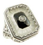 Art Deco Style Sterling Silver Filigree Frosted Sunray Crystal, Jet & Diamond Ring