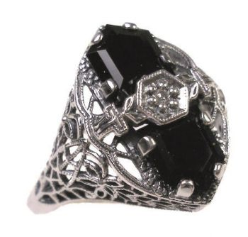 Art Deco Style Sterling Silver Filigree Onyx & Diamond Ring