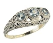 Art Deco Style Sterling Silver Filigree Sky Blue Topaz & Diamond Ring