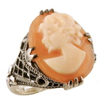 Vintage Style Sterling Silver Filigree Cameo Ring