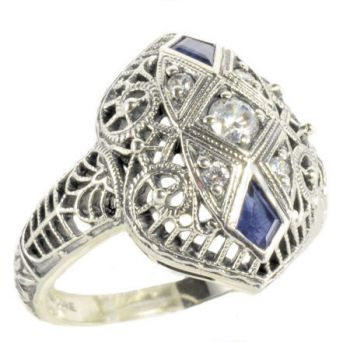 Art Deco Style Sterling Silver Filigree Cubic Zirconia & Sapphire Ring