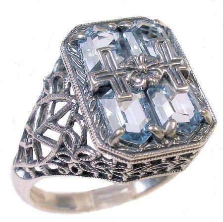 Art Deco Style Sterling Silver Filigree Fancy Shaped Topaz Ring