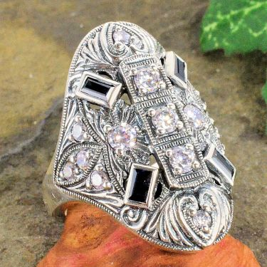 Art Deco Style Sterling Silver Cubic Zirconia & Sapphire Cocktail Ring