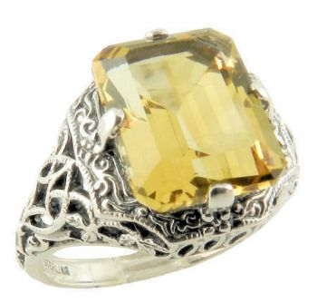 Art Deco Style Sterling Silver Filigree Gemstone Ring