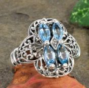 Antique Style Sterling Silver Filigree Marquise Gemstone & Diamond Ring