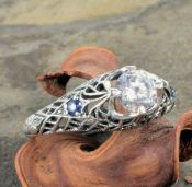 Art Deco Style Sterling Silver Filigree .85ct Cubic Zirconia & Sapphire Ring