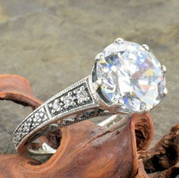 Art Deco Style Sterling Silver Filigree 3.50ct Cubic Zirconia Ring