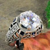 Art Deco Style Sterling Silver Filigree 3.5ct Cubic Zirconia & Sapphire Ring