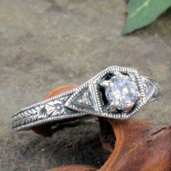 Art Deco Style Sterling Silver Filigree Gemstone & Diamond Ring