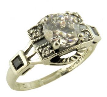 Art Deco Style Silver Filigree Cubic Zirconia & Sapphire Ring