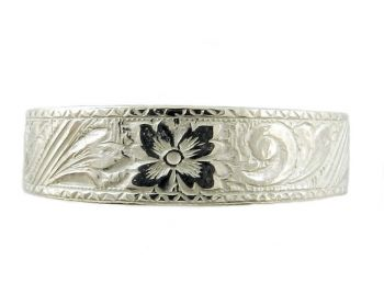 Victorian Style Sterling Silver 6.2mm Floral Patterned Wedding Band
