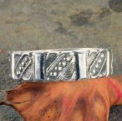 Victorian Style Civil War Era Gents Sterling Silver 7mm Patterned Wedding Band
