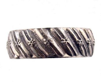 Victorian Style Civil War Era Gents Sterling Silver 7.3mm Patterned Wedding Band